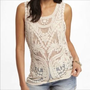 Express Cream Embroidered Lace Tank